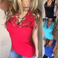 2017 New Sexy Women Ladies Summer Lace Vest Top Sleeveless Blusa Casual Tank Tops T-Shirt
