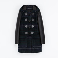 CHECKED DUFFEL COAT WITH LEATHER SLEEVES - Coats - Woman | ZARA United States