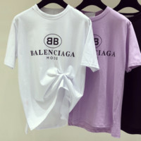 Balenciaga white black letter top blouse shirt