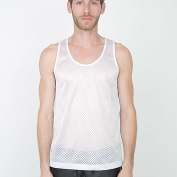 American Apparel- Poly Mesh Athletic Tank- White