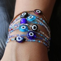 Multi Color Seed Beads and Glass Evil Eyes Stretch Bracelets | AyaDesigns - Jewelry on ArtFire