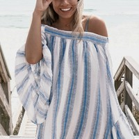 Sun Fun Crystal Blue Linen Cover Up
