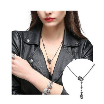 CREYN3C EVBEA Skull Necklace for Women Long Gothic Jewelry Cool Cross Rock Necklaces
