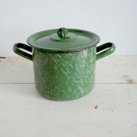 antique green enamel pot / country kitchen cookware Soviet vintage 40s Rare, collectable