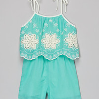 Just Kids Mint Embroidered Romper - Girls | zulily