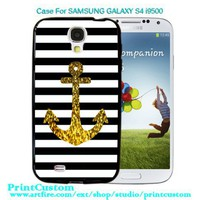 Anchor Gold Bling - Design for Samsung Galaxy S4 i9500 Black Case