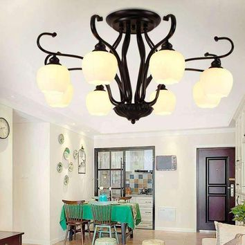 American Modern Glass Lamp Shades Ceiling Chandelier Living Room Kitchen Led Light Decor Home Fixtures Black Iron E27 110-240V