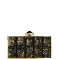 Judith Leiber Couture Perfect Rectangle Faceted Clutch Bag, Champagne/Black