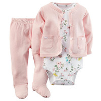 Carter's Girls 3 Piece Light Pink Pointelle Cardigan, Matching Footed Pant and Packaged White Floral Bodysuit Set