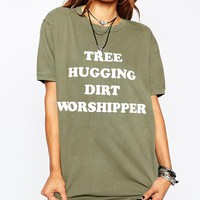 Milk It Vintage Oversized Boyfriend T-Shirt With Tree Hugger Festival Print