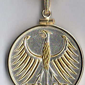 Gorgeous 2-Toned  Gold & Silver German Eagle,  Coin Necklaces