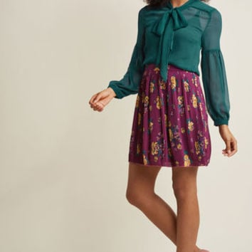 Pleated Chiffon Mini Skirt