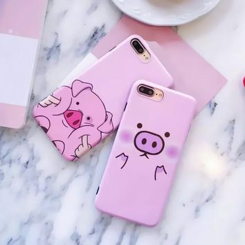 "2017 New Fashion Cute Cartoon Pink Pig Phone Cases For iPhone 7 case Soft Silicone Cover Coque For iPhone 7 7Plus 6 6s 4.7""5.5"" -0405"