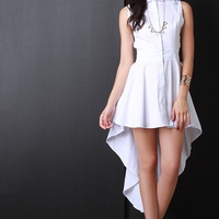 Sleeveless High Low Hem Shirt Dress