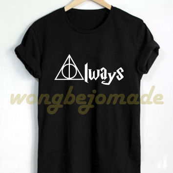 Deathly Hallows Always Shirt Harry Potter Black Grey Maroon Navy and White Color Tshirt