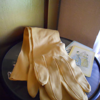 Lady's Long Mod Mustard Dress Gloves for Formal Dress by ZoeAmaris
