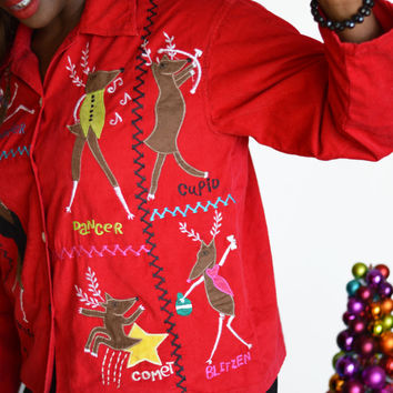 Vintage Ugly Tacky Christmas Corduroy Blouse Santas Reindeer/ Large/ Christmas Sweater Party
