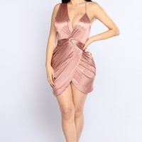 Got Me Twisted Satin Dress - Coco