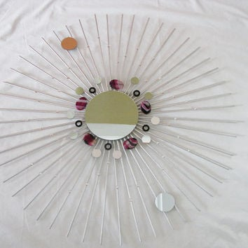 Silver Sunburst Starburst Round Large Wall Mirror with PINK Gemstones Unique bright Colorful