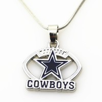 Hot Selling 10pcs Amercia Football Dallas Cowboys Necklace With 50cm Chains Necklace Jewelry Pendants Sport Fun necklace