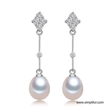 Natural Fresh Pearl Diamond stud Long Earring