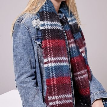 Brushed petrol blue striped scarf - SCARVES - WOMAN | Stradivarius United Kingdom