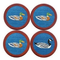 Duck Duck Goose Needlepoint Coasters in Blueberry by Smathers & Branson