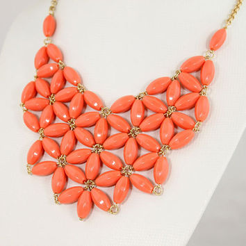 J Crew Inspired, Long Bib, Statement Necklace - Orange, Coral Pink,  Mother Day Gift, Bridesmaids, Wedding Gift, Gift, Hot,