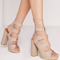 Missguided - Lace up block heel gladiator nude