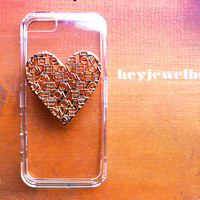 IPHONE 5 OR 4S Gold LOVE Heart and Clear Case