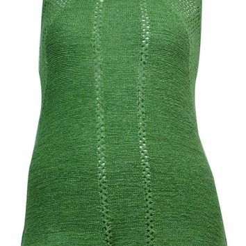 Cable & Gauge Women's Tape-Yarn Pointelle Sleeveless Sweater