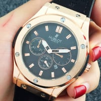 HUBLOT Large dial strap watch with a calendar couple watch 1