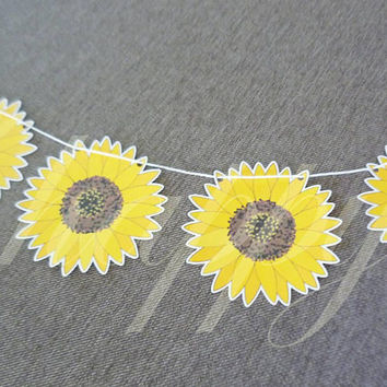 Sunflower bunting flag Paper 12 pcs. floral bunting -paper garland party banners