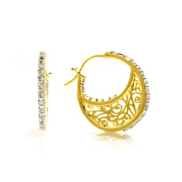 Small 14K Gold Plated Sterling Silver Hoop Earrings with Signature Design with Quartz