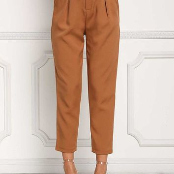 Mocha Pleated Cinched High Rise Slacks