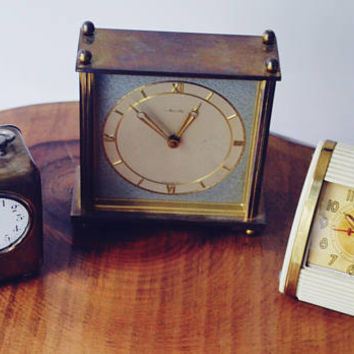 Three Vintage Desk Clocks, For Repair Or Parts Alarm Clocks, Mauthe, Westclox