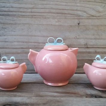 Little Pink Teapot, Cream, and Sugar with Baby Blue Bow