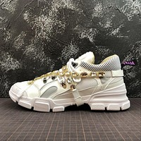 Gucci Flashtrek Leather Sneaker With Crystals White