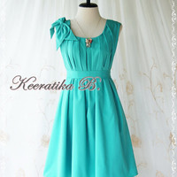 A Party Dress One Shoulder Layered Bow Dress Persian Green Dress Prom Dress Party Bridesmaid Dress Wedding Dress Anniversary Dress