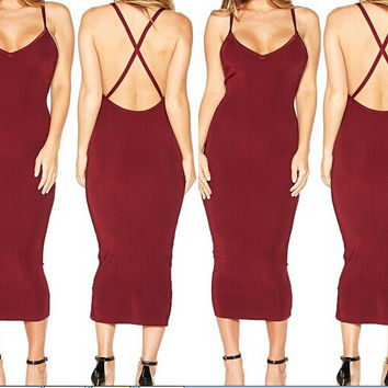 Red Spaghetti Strap Crisscross Back Bodycon Midi Dress