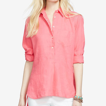 Lauren Ralph Lauren Linen High-Low Shirt - Tops - Women - Macy's