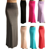 Women Solid Jersey Long Maxi Full Skirt = 1946277572