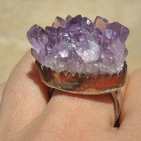 Rustic Amethyst Druzy Copper and Sterling Silver Ring 925- Rough Raw Rugged Stone Finger Jewelry Size 6 6.5 7