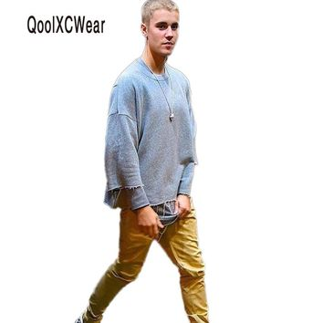 Newest men t shirt fall collection for men three quarter male shirt JUSTIN BIEBER clothes kanye west double sided tops