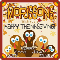 Turkey Family Personalized Thanksgiving Sign with Fall Leaves & Pumpkin Border