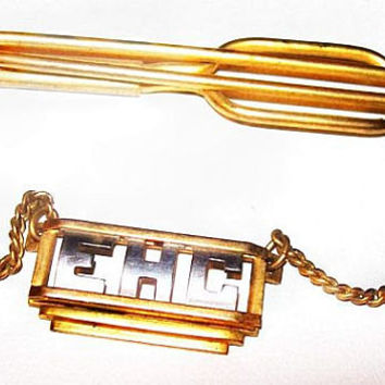 "Swank Tie Bar Clip Chain Initials ECH Gold Silver Metal 2 1/4"" Vintage"