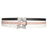 3 Rhinestone Skinny Belt Set | Shop Accessories at Wet Seal