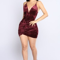 Edith Velvet Dress - Burgundy