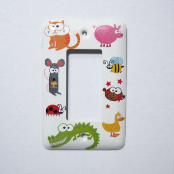 Animal themed rocker single light switch cover