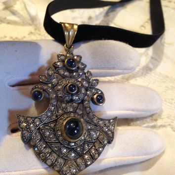 Antique rose cut Diamond Gothic Blue Sapphire 925 Sterling Silver 14k yellow pendant